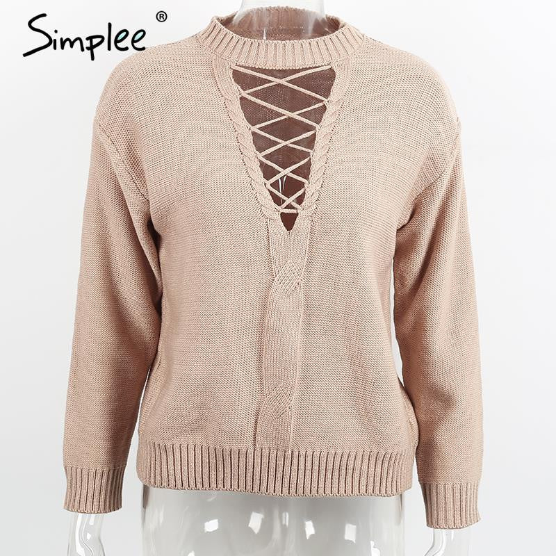 Simplee Lace up winter knitted sweater Women casual black halter twist pullover Autumn 2016 long sleeve nude jumper pull femme