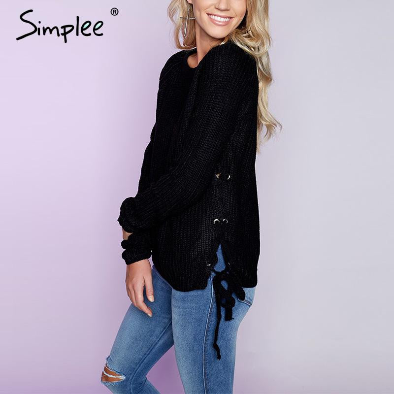 Simplee Lace up black knitted sweater Women elegant slim jumper white pullover Autumn winter casual short pull femme outerwear