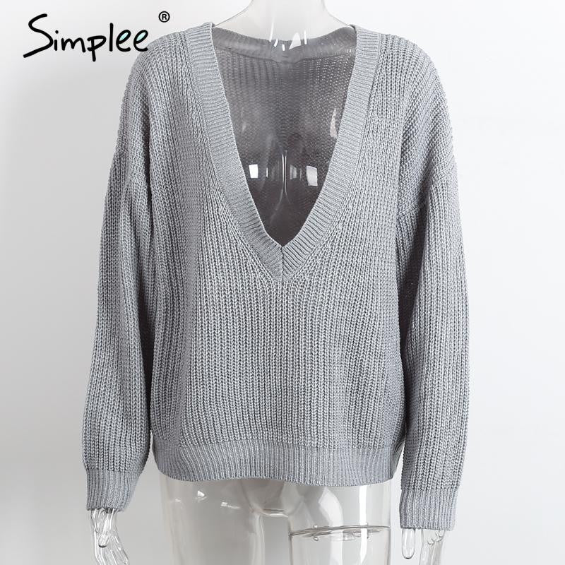 Simplee Deep V neck loose pullover women Bassic casual 2016 winter knittwear Sexy elastic autumn sweater Soft jumpers outwear