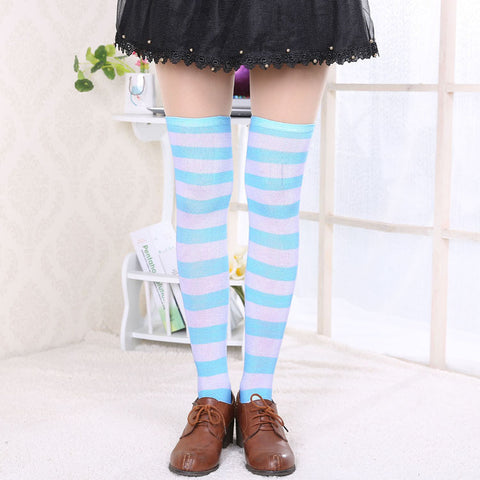 f8ffe54700c ... Hot New Sexy Women Girl Striped Cotton Thigh High Stocking Over the Knee  Socks Fashion Stockings ...