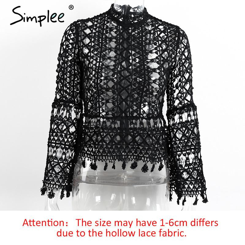 Simplee Hollow out white lace blouse 2016 women top High neck geometry cool blouse 2016 autumn Flare sleeve tassel fringe blusa