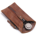 CONTACT'S Vintage Genuine Leather Key Wallet Women Keychain Covers Zipper Key Case Bag Men Key Holder Housekeeper Keys Organizer