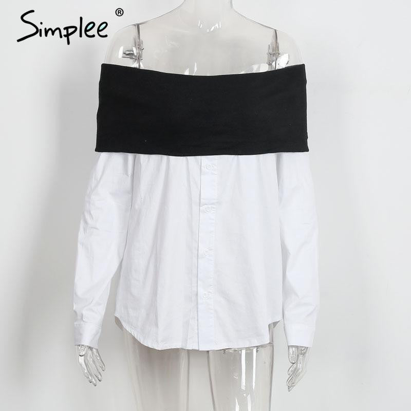 Simplee Sexy off shoulder knitted white blouse shirt Autumn winter 2016 long sleeve cool blouse Women black cotton tops blusas