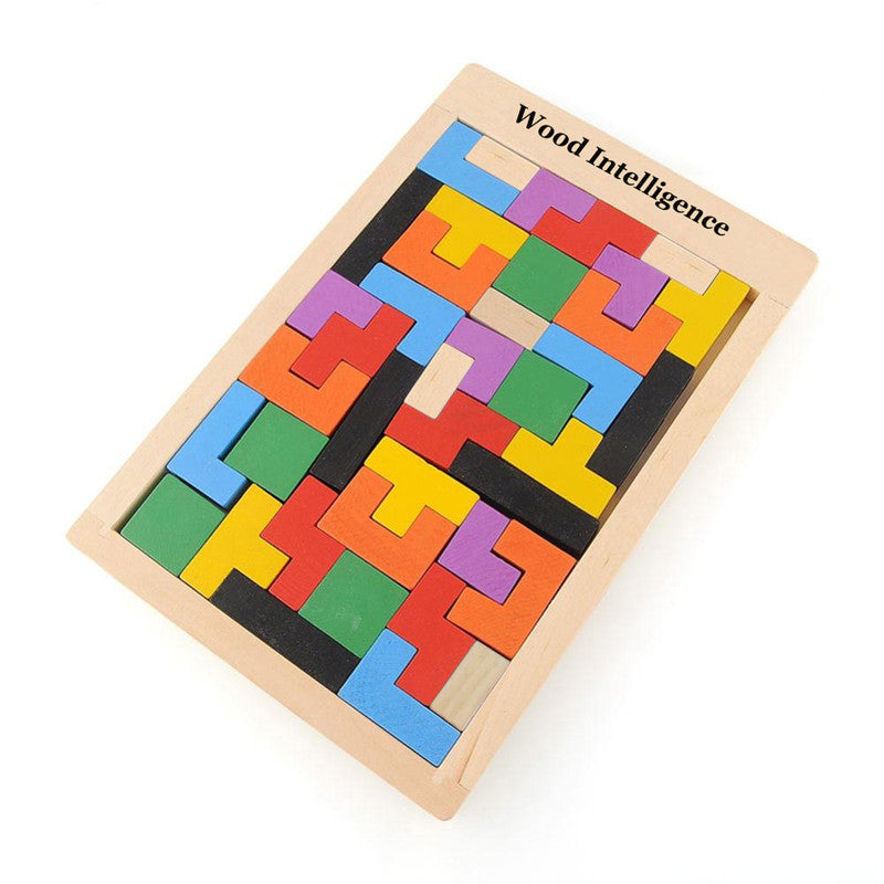 Hot! Children Wooden Puzzles Toy Tangram Brain Teaser Puzzle Toys Tetris Game Educational Kid Jigsaw Board Toy Gifts FCI#