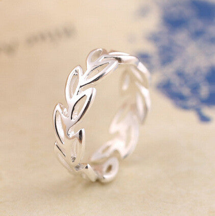 Simple Hollow Leaves Opening Ring Silver Jewelry Fashion Wedding Rings For Women Bague Femme