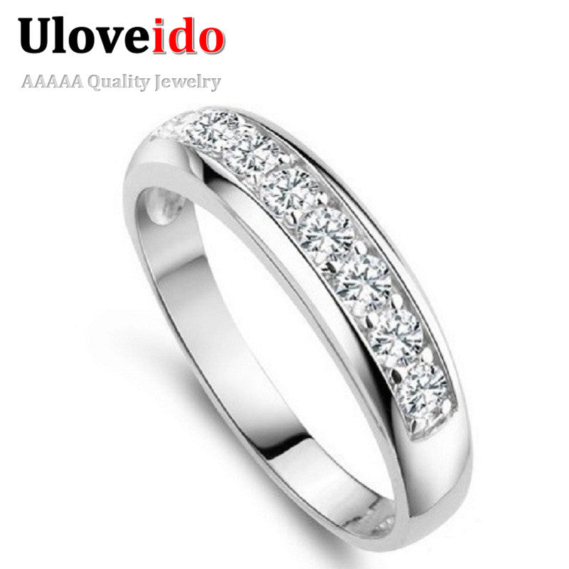 50% off The Ring for Women Wedding Band Zircon 925 Sterling Silver Simulated Diamond Rings for Women/Men Wholesale Ulove J294