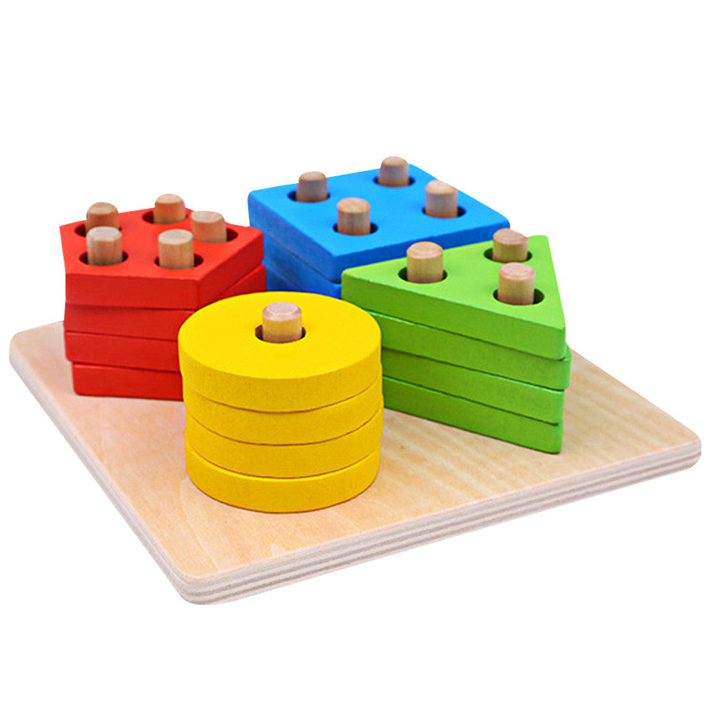 Children Multicolor Wooden Block Toy Baby Kids Geometric Stacker Shape Column Building Block Set Educational Toy FCI#