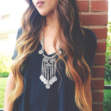 2 Colors New Fashion Jewelry maxi tassel Coin Necklace Chain collar choker statement pendant necklace for women wholesale