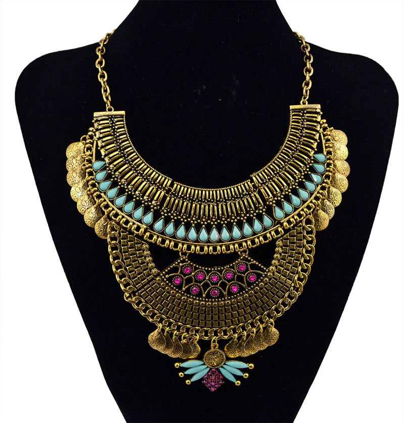 Fashion women Ethnic Boho Gypsy Necklaces Maxi Colar Vintage Choker Collar coin Statement Necklaces & Pendants