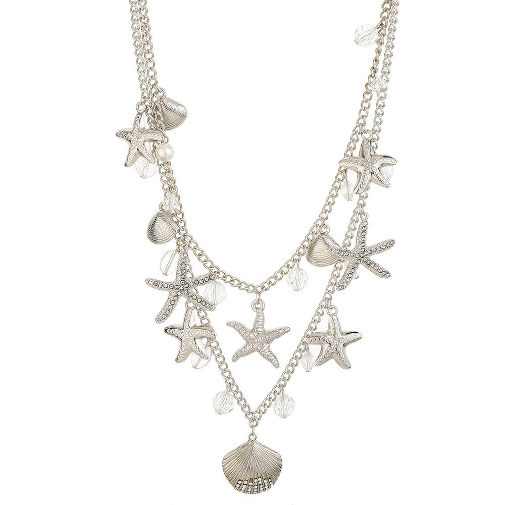 2016 New Fashion High Quality Gold/Silver Multilayer Starfish Shell Pendant Necklace for Women Jewelry RS173