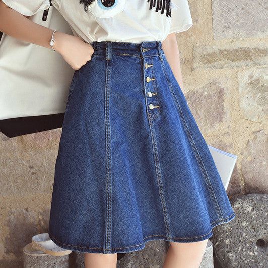 New Arrival Women Denim Skirt High Quality Ladies A Line Summer Skirt With Button Plus size Jeans Skirt