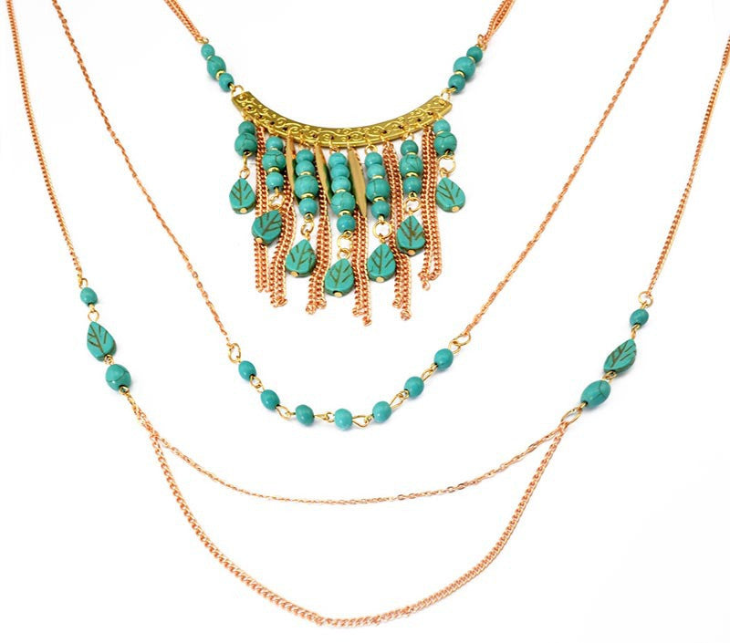 2015 New fashion multi layer Gypsy Turquoise tassle necklace chain boho Silver gold necklace & pendant women jewelry