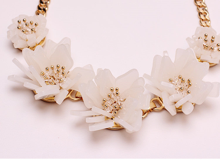 2015 NEW fashion delicate crystal flower elegant pary choker necklace high quality statement jewelry gift wholesale