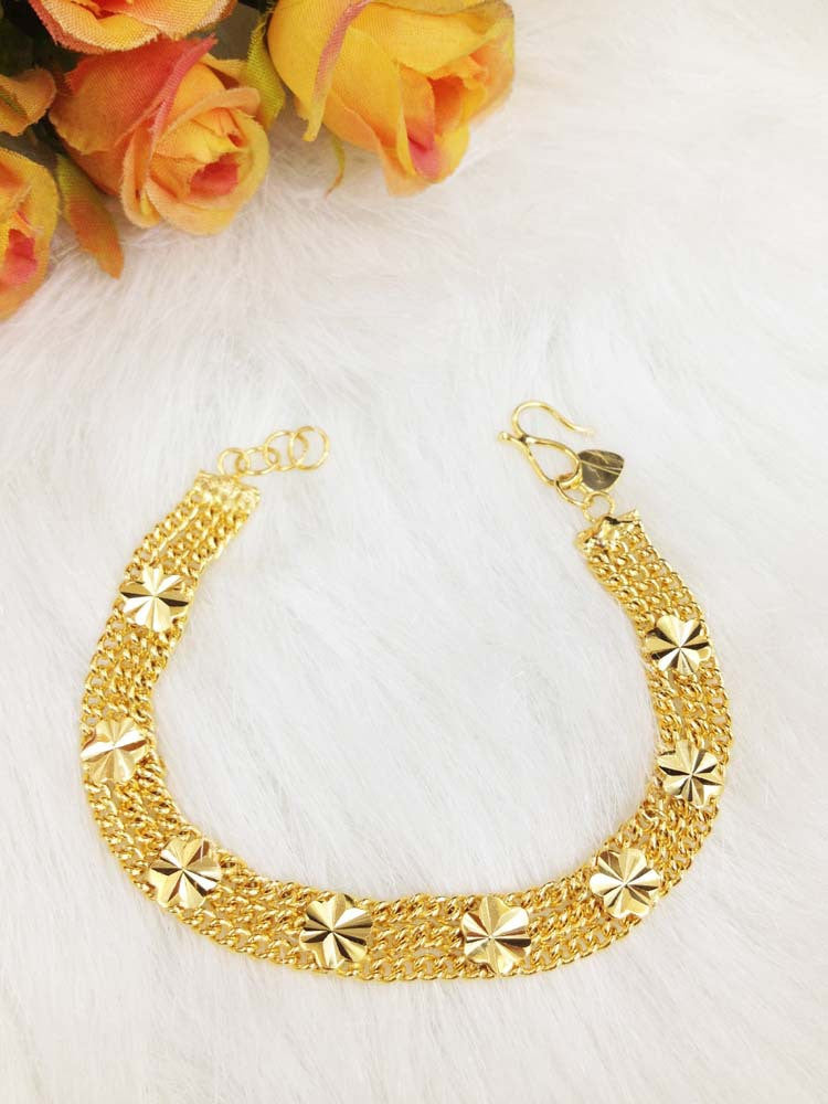Most Fashion gold plated flower charm bracelets for girls high quality gold chain jewelry wholesale Christmas gift