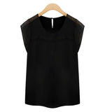 Blusas S-XXL New Fashion Patchwork Short Sleeve Chiffon Blouse Women Tops Clothing Ladies Casual  Shirt Camisas Black White
