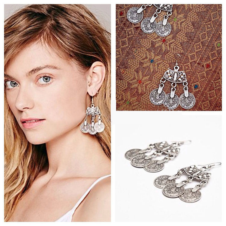 2015 New Trendy Boho jewelry Coin earrings design silver contracted statement earrings for women