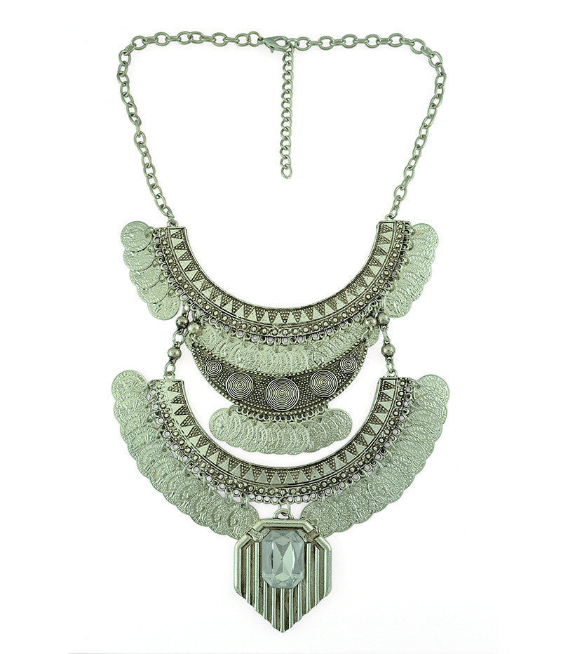 2 Colors New Coins Design Boho Choker Chunky Necklace bohemia Tassel Pendant bib statement Necklace factory price