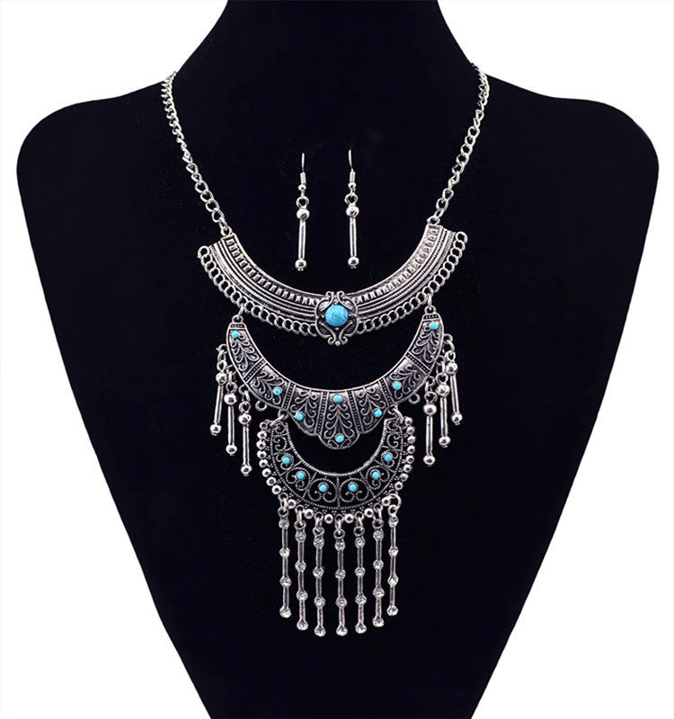 Fashion Statement Bohemia Vintage Necklace With Earring Silver Choker Maxi Women Necklaces & Pendants jewelry women