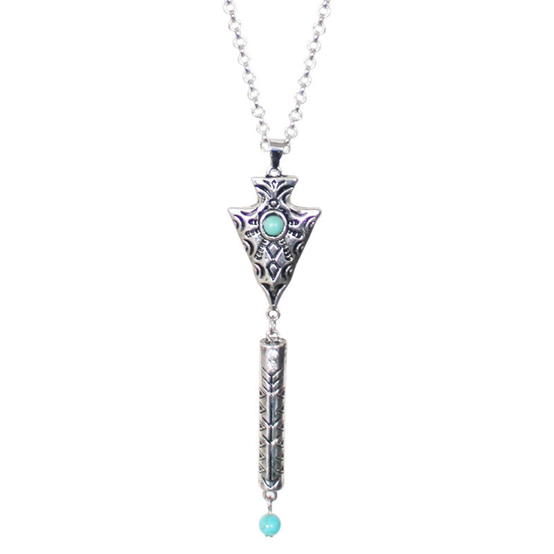 2016 Vintage Necklace Women Bohemia Arrow long Necklace Pendant Charming Women Silver Metal Turquoise necklace Women's Jewelry