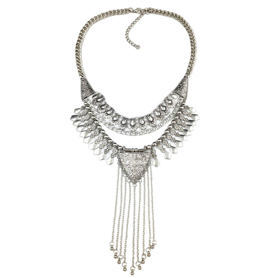 2016 Newest fashion jewelry long tassels sliver statement necklace collar high quality vintage necklace jewelry wholesale