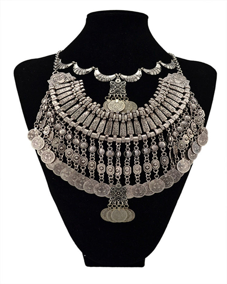 2015 New Hot selling fashion Vintage exaggerated coins Necklace Statement collar Necklaces & Pendants Unique Jewelry Whoselase