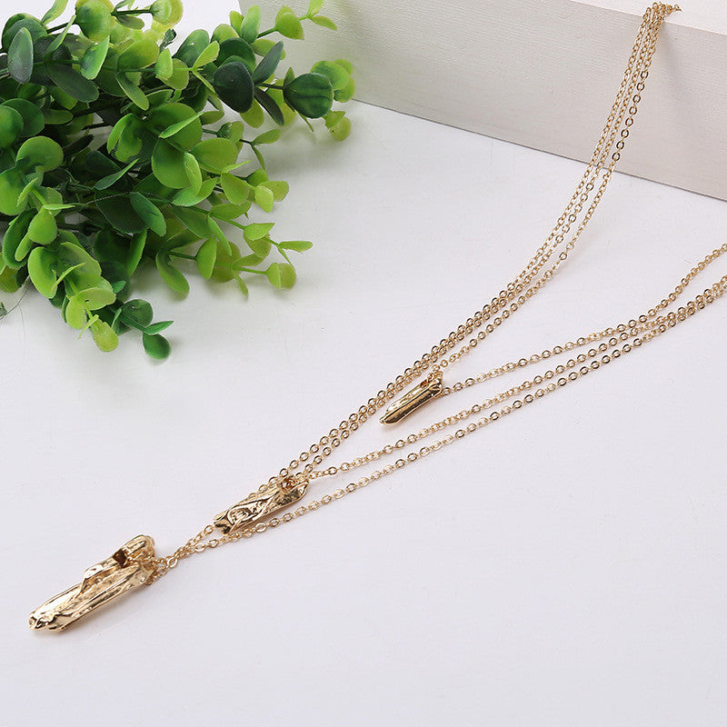New Hot Fashion Gold Silver Plated luxury 3 Layer Chain Necklace Pendant  Jewelry  wholesale