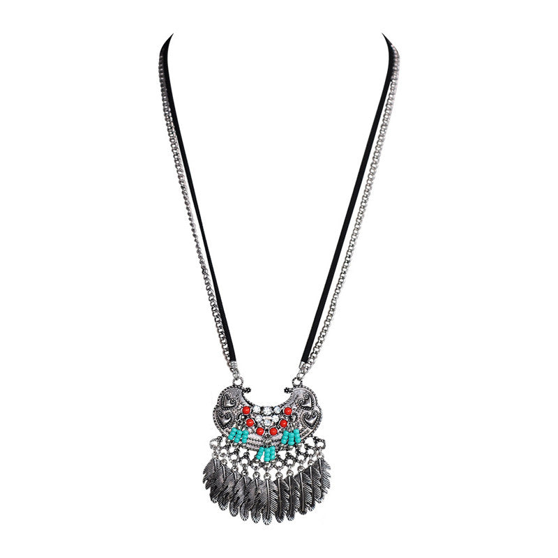 New Trendy Tibet Maxi Multilayer Necklace Jewelry Fashion Rhinestone Tassel Long Necklace women Gift