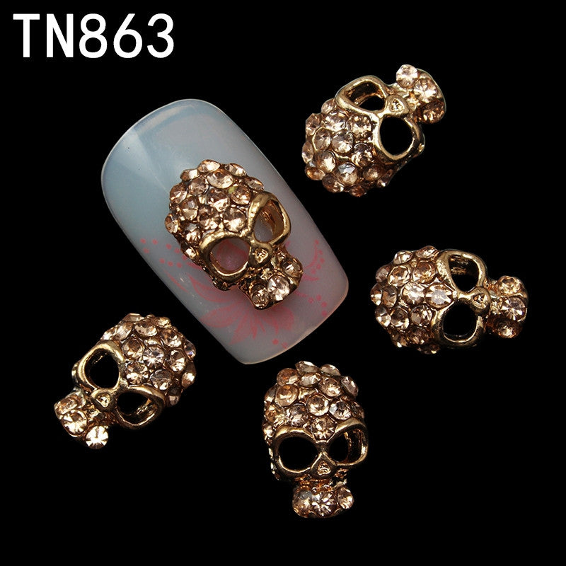 10 Pcs/Lot Manicure Rose Gold Alloy Rhinestones Skull For Nails Strass Halloween Skeleton Charms 3D Nail Art Decorations TN863