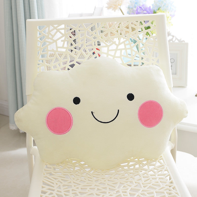 35CM Kawaii Soft Smiley Face Bow Cloud Pillow Cotton Stuffed Cushion Plush Toy