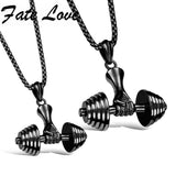 Classic Bodybuilding Dumbbell Style 316L Stainless Steel Golden Black Silver Necklaces Pendant With Chain For Men Women FL1098