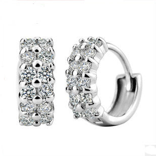 Top Popular Fashion Zircon Earring Girls 925 Sterling Silver Jewelry Woman Earings Accessories Wedding Stud Earrings New 2015