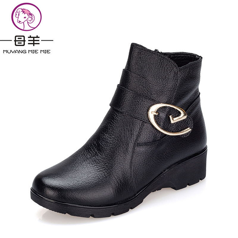 2016 Winter Shoes Woman Genuine Leather Snow Boots New Fashion Casual Flat Ankle Boots Women Warm Shoes Women Boots