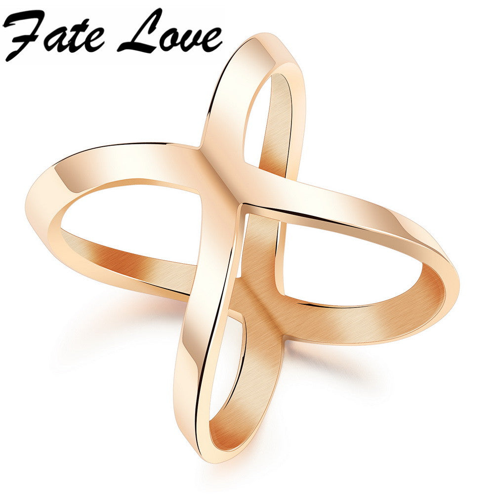 Fashion Romantic Rose Gold Plated Multilayer X Shape Stainless Steel Women Lady Rings Best Gift Party Jewelry FL495