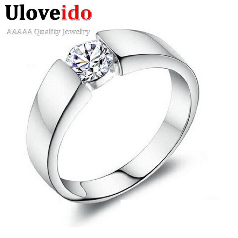 50% off Silver Wedding Rings for Women/Men 925 Sterling Silver Crystal Simulated Diamond Ring Jewelry Anel 2015 Ulove J002