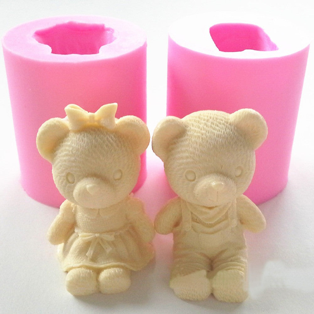 Cute Bear Boy Girl Silicone Soap Mold Fondant Cake Decorating Tools Sugarcraft Cake Chocolate Mold Gum Paste Candle Moulds