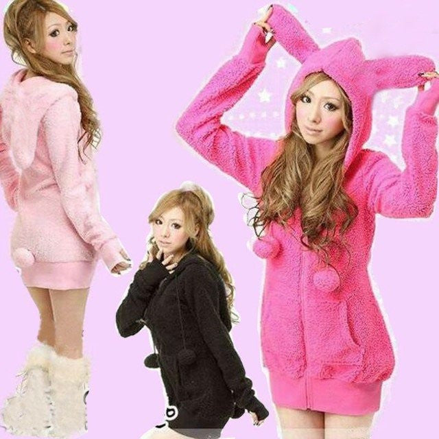 2016 Womens Casual Cute sexy Lolita Fluffy Balls Bunny Ears Sherpa Warm Thicken Hoodie Outerwear Coat top Jacket Sweatshirts