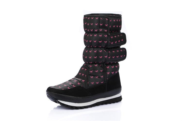 2016 NEW! EUR35-41 Purple Anti-Slip Women Snow Boots Waterproof Winter Lady Boots Thickened Warm Shoes With Little Horse Pattern