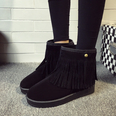 2016 Autumn Winter Suede Leather Fringed Ankle Boots Woman Short Plush Warm Flats Shoes Female Round Toe Comfort Leisure Booties