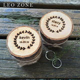2pcs Personalized Wood Wedding Ring Box Custom Decor Mariage Decorations Event Party Supplies Decoration coussin alliance