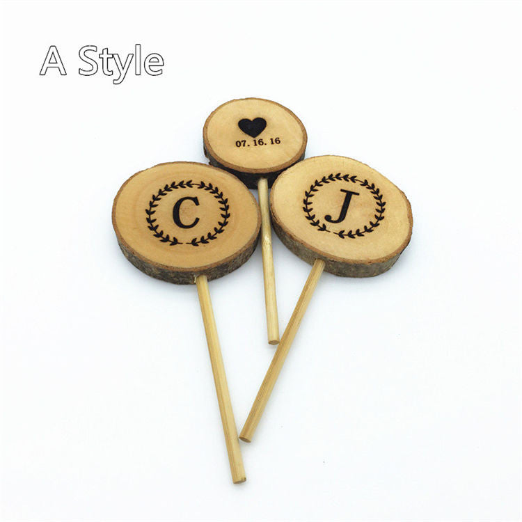 Personalized 3Pcs Wood Cake Toppers Custom Rustic Wedding Decorations Mariage Decoration Event Party Supplies topo de bolo