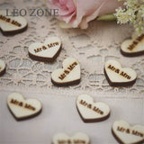 100Pcs Wood Heart Table Decoration Mr & Mrs Confetti Mariage Party Wedding Decorations Boda Decor Event Party Supplies