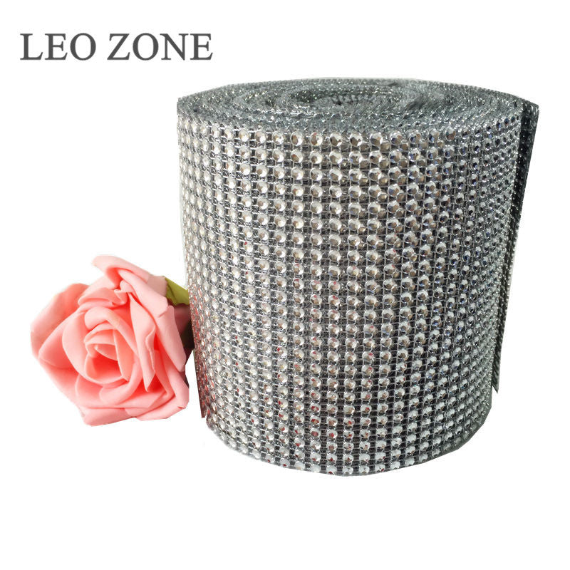 9.15M Mesh Trim Bling Diamond Wrap Cake Roll Tulle Crystal Ribbons Wedding Halloween Decoration Mariage Event Party Supplies