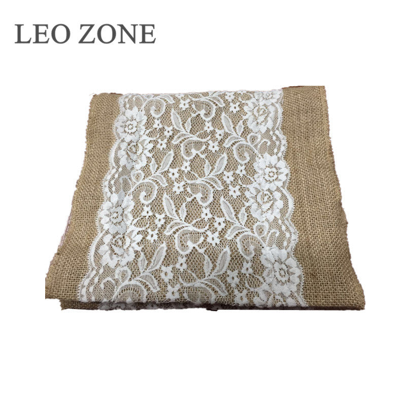 Jute Burlap Hessian Lace Table Runner Wedding Decor Decorations Fabric Mariage Decoration Event Party Supplies toile de jute