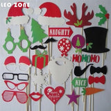 28Pcs Photo Booth Props Photocall  Decorations Christmas Decoration Supplies
