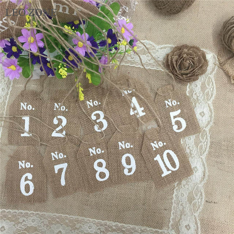 10Pcs Jute Burlap Hessian Wedding Table Numbers Wedding Decor Decorations Mariage Decoration Boda Event Party Supplies