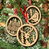 3pcs Double Layer Wood Wapiti Hanging With String For Christmas Home Decorations Christmas Tree Ornament Event Party Supplies
