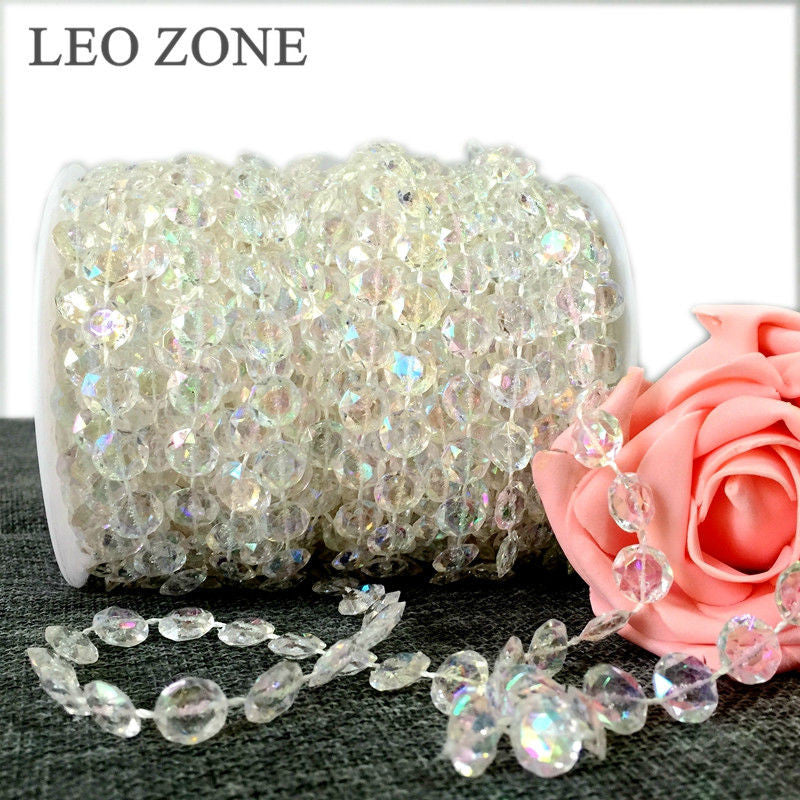 30M /Roll Crystal AB Garland Diamond Acrylic Crystal Beads Engagement Party Wedding Decoration Mariage Event Party Supplies boda