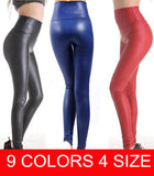 Plus Size Free shipping 2015 New Fashion women's Sexy Skinny Faux Leather High Waist Leggings Pants S/M/L/XL