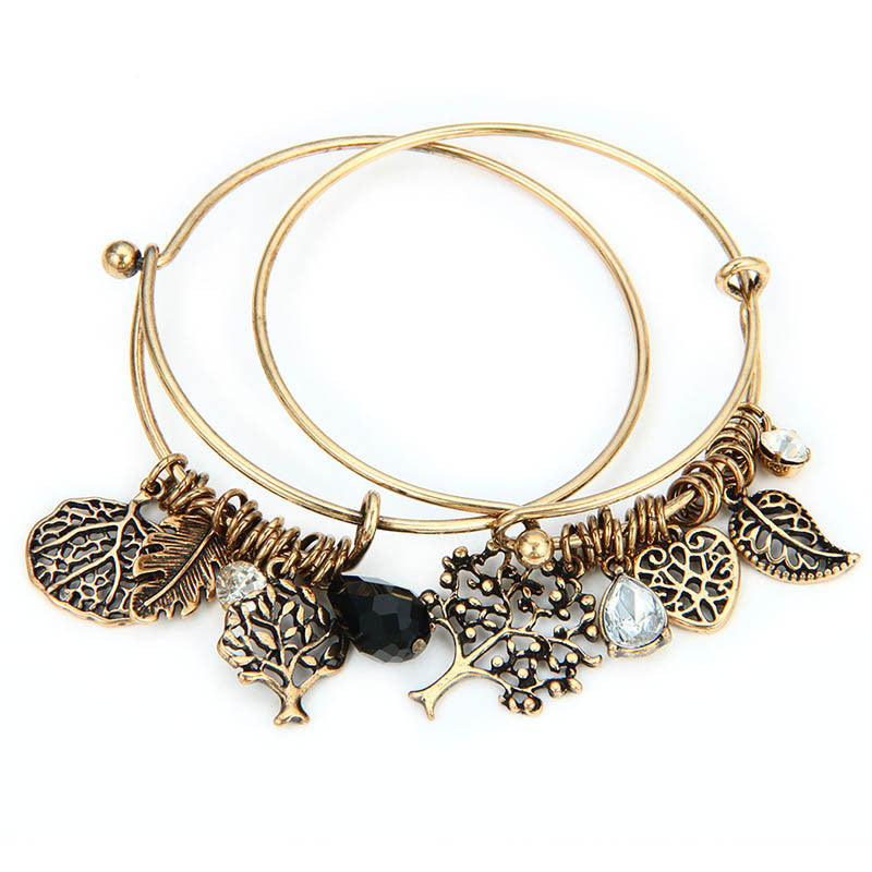 Latest 2PC/lot Retro Adjustable Bracelet Life Tree Leaf Hollow Rhinestone Love Cuff Bangles & Bracelets Charms Women Jewelry