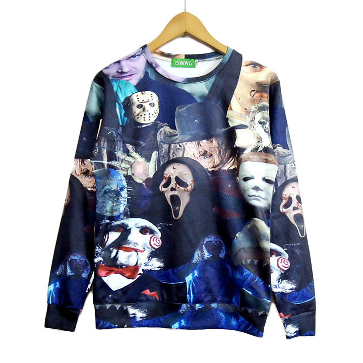 Women Men 3D Cinema Killers Crewneck Sweatshirt Michael Myers Leatherface Hellraiser Hannibal Lecter hoodie Pullover tops jumper
